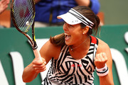 Ana Ivanovic of Serbia celebrates during the Ladies Singles second round match against Kurumi Nara of Japan on day five of the 2016 French Open at Roland Garros on May 26, 2016 in Paris, France.