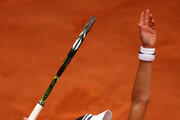 Ana Ivanovic of Serbia serves during the Ladies Singles second round match against Kurumi Nara of Japan on day five of the 2016 French Open at Roland Garros on May 26, 2016 in Paris, France.