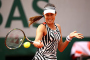 Ana Ivanovic of Serbia hits a forehand during the Ladies Singles second round match against Kurumi Nara of Japan on day five of the 2016 French Open at Roland Garros on May 26, 2016 in Paris, France.