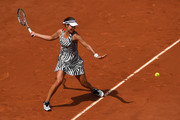 Ana Ivanovic of Serbia hits a forehand during the Ladies Singles third round match against Elina Svitolina of Ukraine on day seven of the 2016 French Open at Roland Garros on May 28, 2016 in Paris, France.