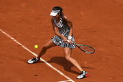 Ana Ivanovic of Serbia hits a backhand during the Ladies Singles third round match against Elina Svitolina of Ukraine on day seven of the 2016 French Open at Roland Garros on May 28, 2016 in Paris, France.