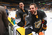 Jamie Benn #14 of the Dallas Stars (L) and Tyler Seguin #91 of the Dallas Stars react prior to the 2016 Honda NHL All-Star Game at Bridgestone Arena on January 31, 2016 in Nashville, Tennessee.
