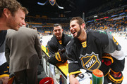 Country music artist Dierks Bentley (L) greets Jamie Benn #14 of the Dallas Stars and Tyler Seguin #91 of the Dallas Stars prior to the 2016 Honda NHL All-Star Game at Bridgestone Arena on January 31, 2016 in Nashville, Tennessee.