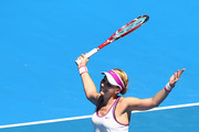 Sabine Lisicki of Germany reacts to a point in the mixed doubles match against Caroline Garcia and Kenny De Schepper of France during day four of the 2016 Hopman Cup at Perth Arena on January 6, 2016 in Perth, Australia.