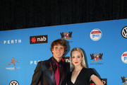 Alexander Zverev  and Sabine Lisicki (who are representing Germany) arrive at the 2016 Hopman Cup Player Party at Perth Crown on January 2, 2016 in Perth, Australia.
