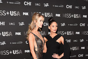 Miss USA 2015 Olivia Jordan (L) and Miss Universe 2015 Pia Wurtzbach attend the 2016 Miss USA pageant at T-Mobile Arena on June 5, 2016 in Las Vegas, Nevada.