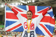Gold medalist Sarah Storey of Great Britain celebrates on the podium at the medal ceremony for the women's C5 3000m individual pursuit track cycling on day 1 of the Rio 2016 Paralympic Games at the Olympic Velodrome on September 8, 2016 in Rio de Janeiro, Brazil.