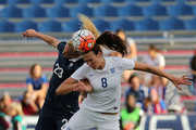 Kheira Hamraoui #23 of France and Jill Scott #8 of England fight for a ball during a match against  in the 2016 SheBelieves Cup at FAU Stadium on March 9, 2016 in Boca Raton, Florida.