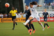 Jill Scott #8 of England and Camille Abily #10 of France fight for the ball during a match against  in the 2016 SheBelieves Cup at FAU Stadium on March 9, 2016 in Boca Raton, Florida.
