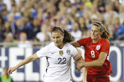 Midfielder Lindsey Horan #22 of the United States protects the ball against midfielder Jill Scott #8 of England during the first half of the 2016 SheBelieves Cup soccer match on March 3, 2016 at Raymond James Stadium in Tampa, Florida.