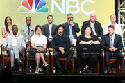 (Back row L-R) Actors Susan Kelechi Watson, Ron Cephas Jones, creator/executive producer Dan Fogelman, executive producers Glenn Ficarra and John Requa and actor Chris Sullivan (front row L-R) actors Sterling K. Brown, Mandy Moore, Milo Ventimiglia, Chrissy Metz and Justin Hartley speak onstage at the 'This Is Us' panel discussion during the NBCUniversal portion of the 2016 Television Critics Association Summer Tour at The Beverly Hilton Hotel on August 2, 2016 in Beverly Hills, California.