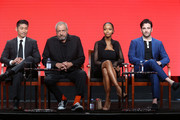 (L-R) Actor Brian Tee, executive producer Dick Wolf and actors Yaya DaCosta and Colin Donnell speak onstage at the 'Chicago Med' panel discussion during the NBCUniversal portion of the 2016 Television Critics Association Summer Tour at The Beverly Hilton Hotel on August 2, 2016 in Beverly Hills, California.