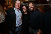 Sun Valley Film Festival Executive Director Teddy Grennan, actress Jennifer Lafleur and actor Mark Duplass pose during the Pioneer Award presentation held at Trail Creek Cabin on March 4, 2016 in Sun Valley, Idaho.