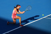 Ana Ivanovic of Serbia plays a backhand in her match against Karolina Pliskova of the Czech Republic during day one of the 2016 Sydney International at Sydney Olympic Park Tennis Centre on January 10, 2016 in Sydney, Australia.