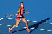Ana Ivanovic of Serbia plays a forehand in her match against Karolina Pliskova of the Czech Republic during day one of the 2016 Sydney International at Sydney Olympic Park Tennis Centre on January 10, 2016 in Sydney, Australia.