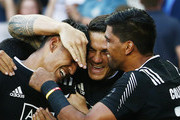 Rieko Ioane of New Zealand (L) is congratulated by teammate Sonny Bill Williams (C) after scoring the final try to win the 2016 Sydney Sevens final match between Australia and New Zealand at Allianz Stadium on February 7, 2016 in Sydney, Australia.