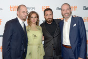 "(L-R) Producer Darren Aronofsky, actress Natalie Portman, director Pablo Larrain and writer Noah Oppenheim attend the ""Jackie"" premiere during the 2016 Toronto International Film Festival at Winter Garden Theatre on September 11, 2016 in Toronto, Canada."