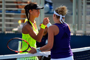 Vitalia Diatchenko of Russia shakes hands with Timea Bacsinszky of Switzerland after their first round Women's Singles match on Day Two of the 2016 US Open at the USTA Billie Jean King National Tennis Center on August 30, 2016 in the Flushing neighborhood of the Queens borough of New York City.