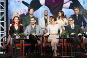 (L-R back) Actors Olivia Taylor Dudley, Hale Appleman, Arjun Gupta, Summer Bishil and Executive producer Michael London (L-R front) Executive producer Sera Gamble, actors Jason Ralph and Stella Maeve and executive producer John McNamara speak onstage during 'The Magicians' panel discussion at the NBCUniversal portion of the 2015 Winter TCA Tou at Langham Hotel on January 14, 2016 in Pasadena, California.