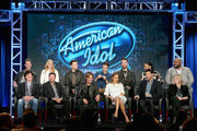 "(L-R Front Row) Mentor Scott Borchetta, Host Ryan Seacrest, Judge Keith Urban, Judge Jennifer Lopez, Judge Harry Connick, Jr., Executive Producer Trish Kinane, (L-R Back Row), S14 Winner Nick Fradiani, S10 Runner-Up Lauren Alaina, S10 Scotty McCreery, S8 Winner Kris Allen, S7 Winner David Cook, S6 Winner Jordin Sparks, S2 Winner Ruben Studdard speak onstage during the ""American Idol"" panel discussion at the FOX portion of the 2015 Winter TCA Tour at the Langham Huntington Hotel on January 15, 2016 in Pasadena, California"