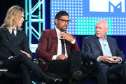 (L-R)  Actors Austin Butler and Manu Bennett and executive producer Terry Brooks speak onstage during the MTV - The Shannara Chronicles panel as part of the Viacom portion of This is Cable 2016 Television Critics Association Press Tour at Langham Hotel on January 6, 2016 in Pasadena, California.