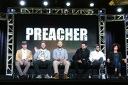 (L-R) Executive producers Sam Caitlin, Seth Rogen and Evan Goldberg and actors Dominic Cooper, Joseph Gilgun and Ruth Negga speak onstage during the Preacher panel as part of the AMC Networks portion of This is Cable 2016 Television Critics Association Winter Tour at Langham Hotel on January 8, 2016 in Pasadena, California.