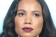 Actress Jurnee Smollett-Bell listens onstage during the Undergournd panel as part of the WGN America portion of This is Cable 2016 Television Critics Association Winter Tour at Langham Hotel on January 8, 2016 in Pasadena, California.