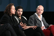 (L-R) Actress Samantha Morton, actor Tahar Rahim and executive producer Peter Carlton speak onstage during The Last Panthers panel as part of the AMC Networks portion of This is Cable 2016 Television Critics Association Winter Tour at Langham Hotel on January 8, 2016 in Pasadena, California.