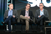 (L-R) Executive Producers Jonathan E. Steinberg, Robert Levine and Brad Fuller speak onstage during the Black Sails panel as part of the Starz portion of This is Cable 2016 Television Critics Association Winter Tour at Langham Hotel on January 8, 2016 in Pasadena, California.