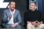 Actors Toby Stephens and Ray Stevenson speak onstage during the Black Sails panel as part of the Starz portion of This is Cable 2016 Television Critics Association Winter Tour at Langham Hotel on January 8, 2016 in Pasadena, California.