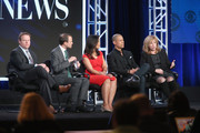 """(L-R) Vice President of Programming for CBS News and Executive Producer of """"CBS This Morning"""" Chris Licht, President CBS News David Rhodes, Correspondent CBS News Elaine Quijano, Correspondent CBS News Vladimir Duthiers and Senior Executive Producer CBS News Digital Nancy Lane speak onstage during the """"CBSN"""" (Part 2) panel discussion at the CBS/ShowtimeTelevision Group portion of the 2015 Winter TCA Tour at the Langham Huntington Hotel on January 12, 2016 in Pasadena, California."""