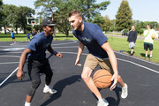 Cole Aldrich #45 of the Minnesota Timberwolves participates in the unveiling and ribbon cutting of a refurbished basketball court on August 24, 2017 at East Park in Rochester, Minnesota.  NOTE TO USER:  User expressly acknowledges and agrees that, by downloading and or using this Photograph, user is consenting to the terms and conditions of the Getty Images License Agreement. Mandatory Copyright Notice: Copyright 2017 NBAE
