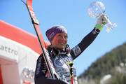 Tessa Worley of France celebrates with her globe for winning the ladies' giant slalom title at the 2017 Audi FIS Ski World Cup Finals at Aspen Mountain on March 19, 2017 in Aspen, Colorado.