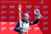 Tessa Worley of France celebrates with her globe for winning the ladies' giant slalom title at the 2017 Audi FIS Ski World Cup Final at Aspen Mountain on March 19, 2017 in Aspen, Colorado.