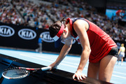 Jelena Jankovic of Serbia reacts in her third round match against Svetlana Kuznetsova of Russia on day five of the 2017 Australian Open at Melbourne Park on January 20, 2017 in Melbourne, Australia.