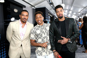 (L-R) Laz Alonso, Jacob Latimore, and DeRay Davis at the 2017 BET Awards at Staples Center on June 25, 2017 in Los Angeles, California.