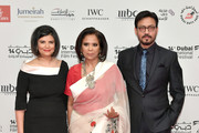 Managing Director of DIFF Shivani Pandya (L), actor Irrfan Khan (R) and guest attend the Opening Night Gala of the 14th annual Dubai International Film Festival held at the Madinat Jumeriah Complex on December 6, 2017 in Dubai, United Arab Emirates.