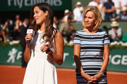 Ana Ivanovic speaks on Court Philippe Chatrier as a ceremony is held in her honour on day twelve of the 2017 French Open at Roland Garros on June 8, 2017 in Paris, France.