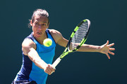 Francesca Schiavone of Italy in action against Kurumi Nara of Japan during Day 2 of the Miami Open at Crandon Park Tennis Center on March 21, 2017 in Key Biscayne, Florida.