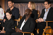 (Top L-R) Actors Dylan Bruce, Arielle Kebbel and Yul Vazquez (bottom) Actors Sarah Ramos (L) and Peter Mensah of 'Midnight, Texas' speak onstage during the 2017 NBCUniversal Summer Press Day at The Beverly Hilton Hotel on March 20, 2017 in Beverly Hills, California.
