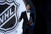 """Sergei Bobrovsky of the Columbus Blue Jackets speaks after winning the Vezina Trophy awarded to the """"goalkeeper adjudged to be the best at his position"""" during the 2017 NHL Awards and Expansion Draft at T-Mobile Arena on June 21, 2017 in Las Vegas, Nevada."""