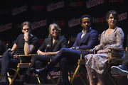 Bill Skarsgard, Sissy Spacek, Andre Holland and Melanie Lynskey speak onstage at the Castle Rock Panel during the 2017 New York Comic Con on October 8, 2017 in New York City.