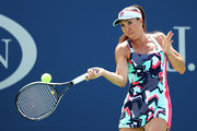 Jelena Jankovic of Serbia returns a shot during her first round Women's Singles match against Petra Kvitova of the Czech Republic on Day One of the 2017 US Open at the USTA Billie Jean King National Tennis Center on August 28, 2017 in the Flushing neighborhood of the Queens borough of New York City.