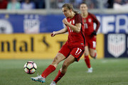 Tobin Heath #17 of the United States passes the ball in the second half against England during the SheBelieves Cup at Red Bull Arena on March 4, 2017 in Harrison, New Jersey.England defeated the USA 1-0.