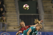 Lena Petermann #18 of Germany collides with Becky Sauerbrunn #4 of the United States of America in the first half during the SheBelieves Cup at Talen Energy Stadium on March 1, 2017 in Chester, Pennsylvania.