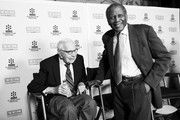 Image has been converted to black and white.) Producer Walter Mirisch (L) and actor Sidney Poitier attend the 50th anniversary screening of 'In the Heat of the Night' during the 2017 TCM Classic Film Festival on April 6, 2017 in Los Angeles, California.