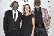 (L-R) Director Mahamat-Saleh Haroun, actors Sandrine Bonnaire and Eric Ebouaney attend the Unifrance Cocktail Party Red Carpet during the 2017 Toronto International Film Festival at TIFF Bell Lightbox September 9, 2017, in Toronto, Ontario. / AFP PHOTO / VALERIE MACON