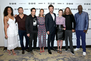 (L-R) Actors Parisa Fitz-Henley, Dylan Bruce, Yul Vazquez, Arielle Kebbel, Francois Arnaud, Sarah Ramos, Jason Lewis, and Peter Mensah of 'Midnight, Texas' at 2017 WIRED Cafe at Comic Con, presented by AT&T Audience Network on July 22, 2017 in San Diego, California.