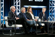 (L-R) Executive producer/director Barry Levinson, executive producer/actor Robert De Niro, executive producer Jane Rosenthal and author/consultant Diana Henriques of the film 'The Wizard of Lies' speak onstage during the HBO portion of the 2017 Winter Television Critics Association Press Tour at the Langham Hotel on January 14, 2017 in Pasadena, California.