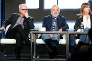 (L-R) Executive producer/director Barry Levinson, executive producer/actor Robert De Niro and executive producer Jane Rosenthal speak onstage during the HBO portion of the 2017 Winter Television Critics Association Press Tour at the Langham Hotel on January 14, 2017 in Pasadena, California.